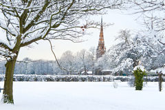 New English winter series: park in snow Stock Photo