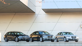 New entire model line of powerful BMW 535 family and business cl Stock Photos