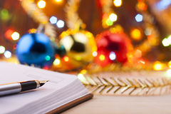 New entries. To-do list to the new year. List of shopping before the New Year. Stock Image