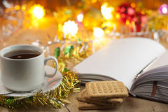 New entries. To-do list to the new year. List of shopping before the New Year. Stock Photo
