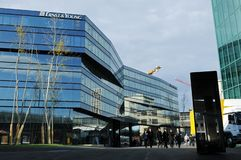 The new Ernst & Young headquarter in Zürich-West in the shadow of the Swiss Prime Tower. In Zürich-West stock image