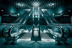New escalators built a subway station Stock Photography