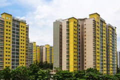 New Estate. A new colorful neighborhood estate among domestic garden in Singapore Royalty Free Stock Photo