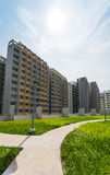 New Estate. A park leading to a green estate in Singapore Royalty Free Stock Images