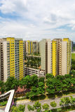 New Estate. A vertical shot of a new colorful neighborhood estate among domestic garden in Singapore Royalty Free Stock Image