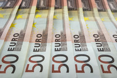 New 50 Euro Banknotes. Lined up Royalty Free Stock Photos