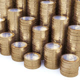 New Euro Coins Stack Background. On White Stock Photos