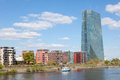 New European Central Bank (ECB) in Frankfurt. FRANKFURT MAIN, GERMANY - APR 18: New European Central Bank (ECB) building at the river Main in Frankfurt. April 18 Stock Images