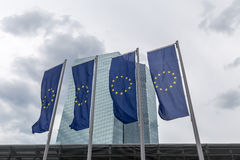 New european central bank in frankfurt germany with europe flags Stock Photography