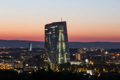 New european central bank in frankfurt germany in the evening Royalty Free Stock Photo