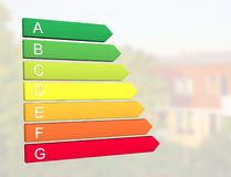 New 2019 european energy efficiency classification label with classes from A to G. In front of home building background royalty free illustration
