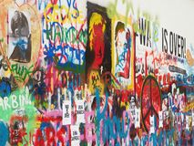 The New Face of the Lennon Wall in Prague Stock Photos