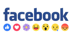 New Facebook like button Empathetic Emoji Reactions with flower Stock Image