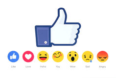New Facebook like button 6 Empathetic Emoji Reactions. Kiev, Ukraine - February 26, 2016: New Facebook like button 6 Empathetic Emoji Reactions printed on white