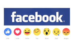New Facebook like button 6 Empathetic Emoji Reactions. Kiev, Ukraine - February 26, 2016: New Facebook like button 6 Empathetic Emoji Reactions printed on white royalty free stock photos