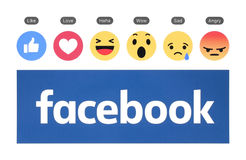 New Facebook logo with like button and Empathetic Emoji Reaction. Kiev, Ukraine - August 23, 2016: New Facebook logo with like button and Empathetic Emoji royalty free stock photo