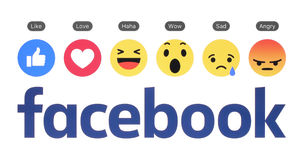 New Facebook logo with like button and Empathetic Emoji Reaction. Kiev, Ukraine - August 23, 2016: New Facebook logo with like button and Empathetic Emoji Stock Image