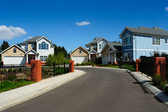 New family homes in small residential area Stock Images