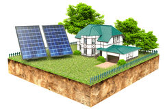 New family homes with solar panels Royalty Free Stock Images