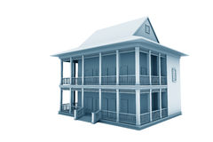 New family house. 3d illustration. Isolated on white, with clipping path Royalty Free Stock Image