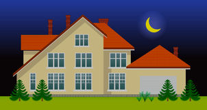 New family house in the night Royalty Free Stock Image