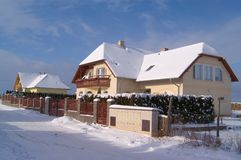 New family houses. Under snow Stock Photos