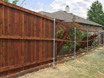 New fence building in the back yard Royalty Free Stock Photos