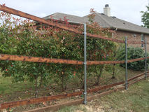 New fence building with steel tube in the yard Royalty Free Stock Photos