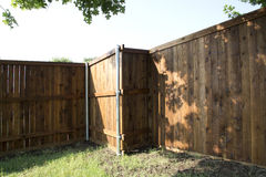New fence in the yard  background Stock Image
