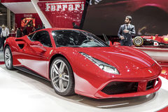 The new Ferrari 488. GTB on show at the Geneva Motorshow, Switzerland Stock Photography