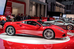 The new Ferrari 488. GTB on show at the Geneva Motorshow, Switzerland Stock Images