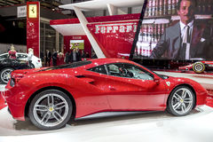 The New Ferrari 488 Supercar. The new Ferrari 488 on show at the Geneva Motorshow, Switzerland Stock Photos