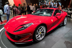 New Ferrari 812 Superfast sports car. GENEVA, SWITZERLAND - MARCH 8, 2017: New Ferrari 812 Superfast sports car presented at the 87th Geneva International Motor Royalty Free Stock Image
