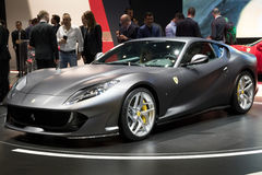New Ferrari 812 Superfast sports car. GENEVA, SWITZERLAND - MARCH 8, 2017: New Ferrari 812 Superfast sports car presented at the 87th Geneva International Motor Royalty Free Stock Images