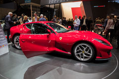 New Ferrari 812 Superfast sports car. GENEVA, SWITZERLAND - MARCH 8, 2017: New Ferrari 812 Superfast sports car presented at the 87th Geneva International Motor Stock Photography