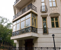 New fiberglass balcony glazing in city house Stock Photo