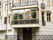 New fiberglass balcony glazing in city house. Moscow Stock Image