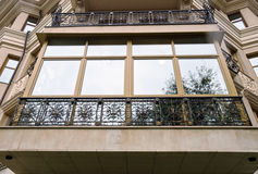New fiberglass balcony glazing in city house Royalty Free Stock Photo