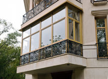 New fiberglass balcony glazing in city house Stock Image