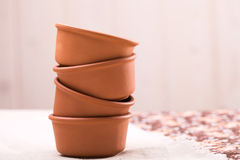 New fine clay dishes Royalty Free Stock Photos