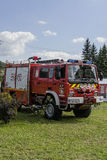New fire engine. Modern Fire department vehicle in the village  Roznow , Poland. Europe Stock Photo