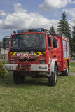 New fire engine. Modern Fire department vehicle in the village  Roznow , Poland. Europe Stock Images