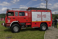 New fire engine. Modern Fire department vehicle in the village  Roznow , Poland. Europe Stock Photos