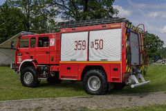 New fire engine. Modern Fire department vehicle in the village  Roznow , Poland. Europe Royalty Free Stock Photo