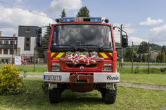 New fire engine. Modern Fire department vehicle in the village  Roznow , Poland. Europe Stock Image