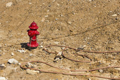 New fire hydrant on construction site Royalty Free Stock Photo