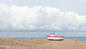 New fishing boat seen ashore Stock Photos