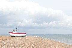 New fishing boat seen ashore Royalty Free Stock Photos
