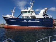 New fishingboat. Fishingboat White blue stock photos