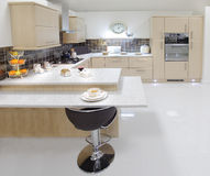 New fitted beech kitchen Stock Photos